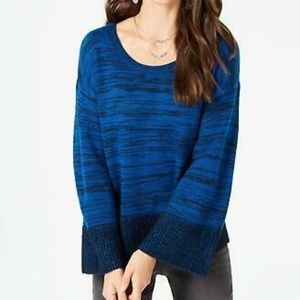 Style & Co Marled Colorblocked Sweater Blue Size L